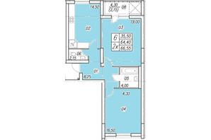 ЖК Аквамарин: планування 2-кімнатної квартири 66.55 м²