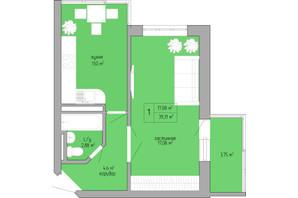 ЖК Акварель 1: планування 1-кімнатної квартири 39.31 м²