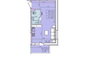 ЖК Акварель 2: планування 1-кімнатної квартири 33.68 м²