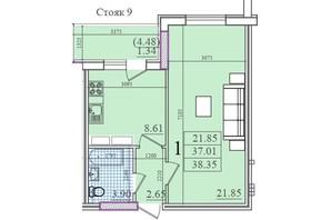 ЖК Акварель 2: планування 1-кімнатної квартири 39.42 м²