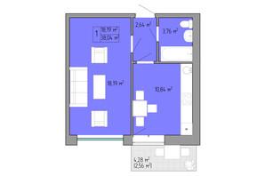 ЖК Акварель 2: планування 1-кімнатної квартири 38.04 м²
