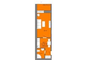 ЖК Акварель 2: планування 1-кімнатної квартири 29.76 м²