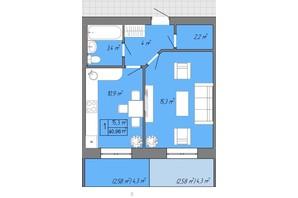 ЖК Акварель 2: планування 1-кімнатної квартири 40.96 м²