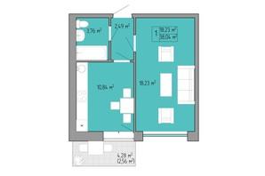 ЖК Акварель 2: планування 1-кімнатної квартири 37.8 м²
