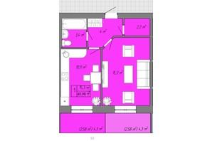 ЖК Акварель 2: планировка 1-комнатной квартиры 40.96 м²