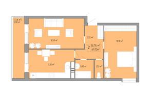 ЖК Акварель 3: планировка 2-комнатной квартиры 50.89 м²