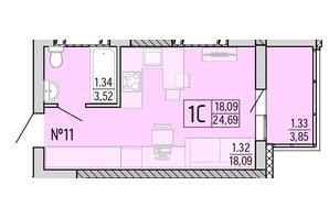 ЖК Акварель 4: планування 1-кімнатної квартири 24.69 м²