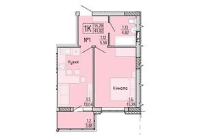 ЖК Акварель 4: планування 1-кімнатної квартири 41.82 м²