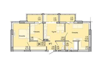 ЖК Акварель 4: планування 3-кімнатної квартири 80.75 м²