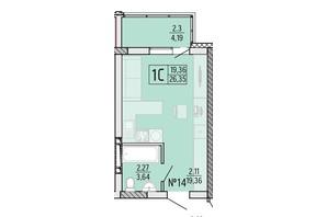 ЖК Акварель 4: планування 1-кімнатної квартири 26.35 м²