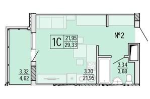 ЖК Акварель 4: планування 1-кімнатної квартири 29.35 м²