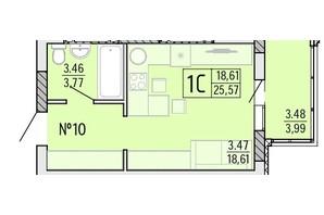 ЖК Акварель 4: планування 1-кімнатної квартири 25.57 м²
