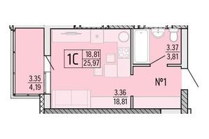 ЖК Акварель 4: планування 1-кімнатної квартири 25.97 м²