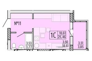 ЖК Акварель 4: планування 1-кімнатної квартири 25.46 м²
