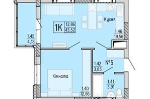 ЖК Акварель 4: планировка 1-комнатной квартиры 43.52 м²