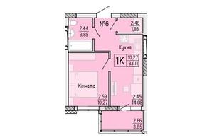 ЖК Акварель 4: планировка 1-комнатной квартиры 33.11 м²