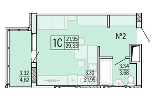 ЖК Акварель 4: планировка 1-комнатной квартиры 29.35 м²