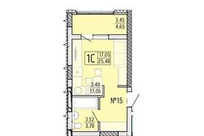 ЖК Акварель 4: планировка 1-комнатной квартиры 25.48 м²