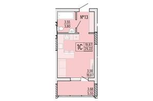 ЖК Акварель 4: планировка 1-комнатной квартиры 29.22 м²