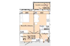 ЖК Акварель 7: планування 1-кімнатної квартири 38.34 м²