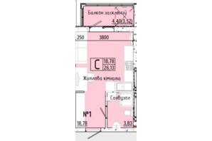 ЖК Акварель 7: планування 1-кімнатної квартири 26.13 м²