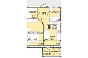 ЖК Акварель 7: планування 1-кімнатної квартири 34.74 м²