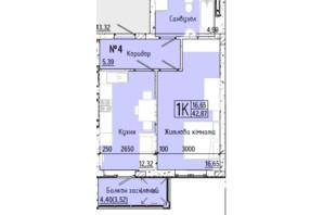 ЖК Акварель 7: планування 1-кімнатної квартири 42.37 м²
