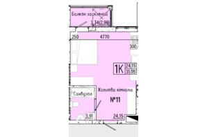 ЖК Акварель 7: планування 1-кімнатної квартири 31.31 м²