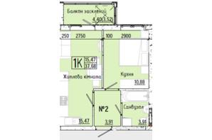 ЖК Акварель 7: планування 1-кімнатної квартири 37.68 м²