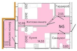 ЖК Акварель 7: планування 1-кімнатної квартири 35.11 м²