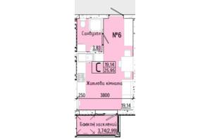 ЖК Акварель 7: планировка 1-комнатной квартиры 25.95 м²
