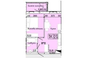 ЖК Акварель 7: планировка 1-комнатной квартиры 36.07 м²