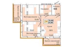 ЖК Акварель 7: планировка 2-комнатной квартиры 51.27 м²