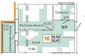 ЖК Акварель 7: планировка 1-комнатной квартиры 35 м²