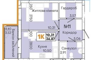 ЖК Акварель 7: планировка 1-комнатной квартиры 36.87 м²