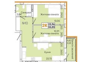 ЖК Акварель 7: планировка 2-комнатной квартиры 55.19 м²