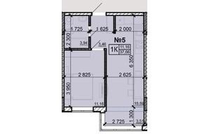 ЖК Акварель 8: планування 1-кімнатної квартири 37.66 м²