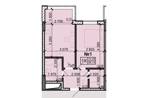ЖК Акварель 8: планування 1-кімнатної квартири 39.13 м²