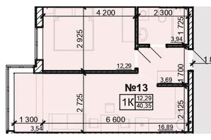ЖК Акварель 8: планування 1-кімнатної квартири 40.35 м²