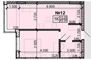 ЖК Акварель 8: планування 1-кімнатної квартири 40.34 м²