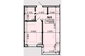 ЖК Акварель 8: планування 1-кімнатної квартири 39.89 м²