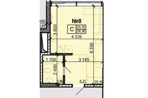 ЖК Акварель 8: планування 1-кімнатної квартири 28.36 м²