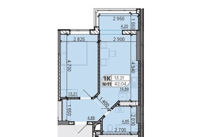 ЖК Акварель 8: планування 1-кімнатної квартири 42.04 м²