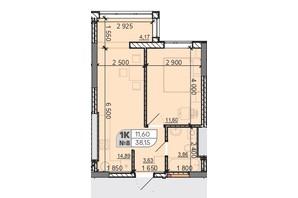 ЖК Акварель 8: планування 1-кімнатної квартири 38.15 м²