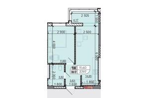ЖК Акварель 8: планування 1-кімнатної квартири 37.97 м²