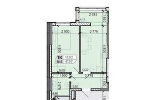 ЖК Акварель 8: планування 1-кімнатної квартири 41.57 м²