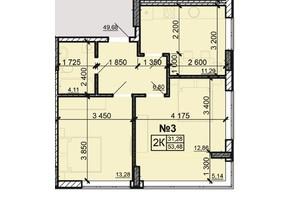 ЖК Акварель 8: планировка 2-комнатной квартиры 53.48 м²