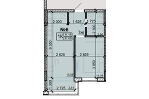 ЖК Акварель 8: планировка 1-комнатной квартиры 37.66 м²