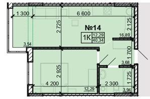 ЖК Акварель 8: планировка 1-комнатной квартиры 40.34 м²