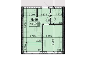 ЖК Акварель 8: планировка 1-комнатной квартиры 35.72 м²